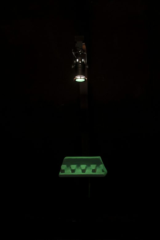 Site-specific installation; painted found object (ca. 40 x 20 x 25 cm) on a wooden stand, programmed LED light, spotlight, 2018