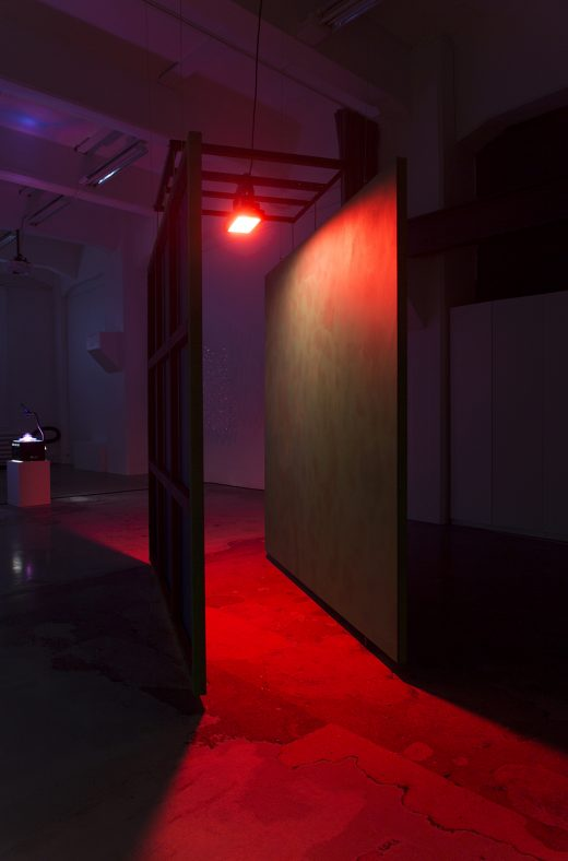 Deep Breath 2021 View from exhibition Material Light at MUU Helsinki in Cable Factory, Finland (programmed LED light, paintings)